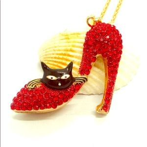 NWT Betsey Johnson Necklace Crystal Cat High Heel